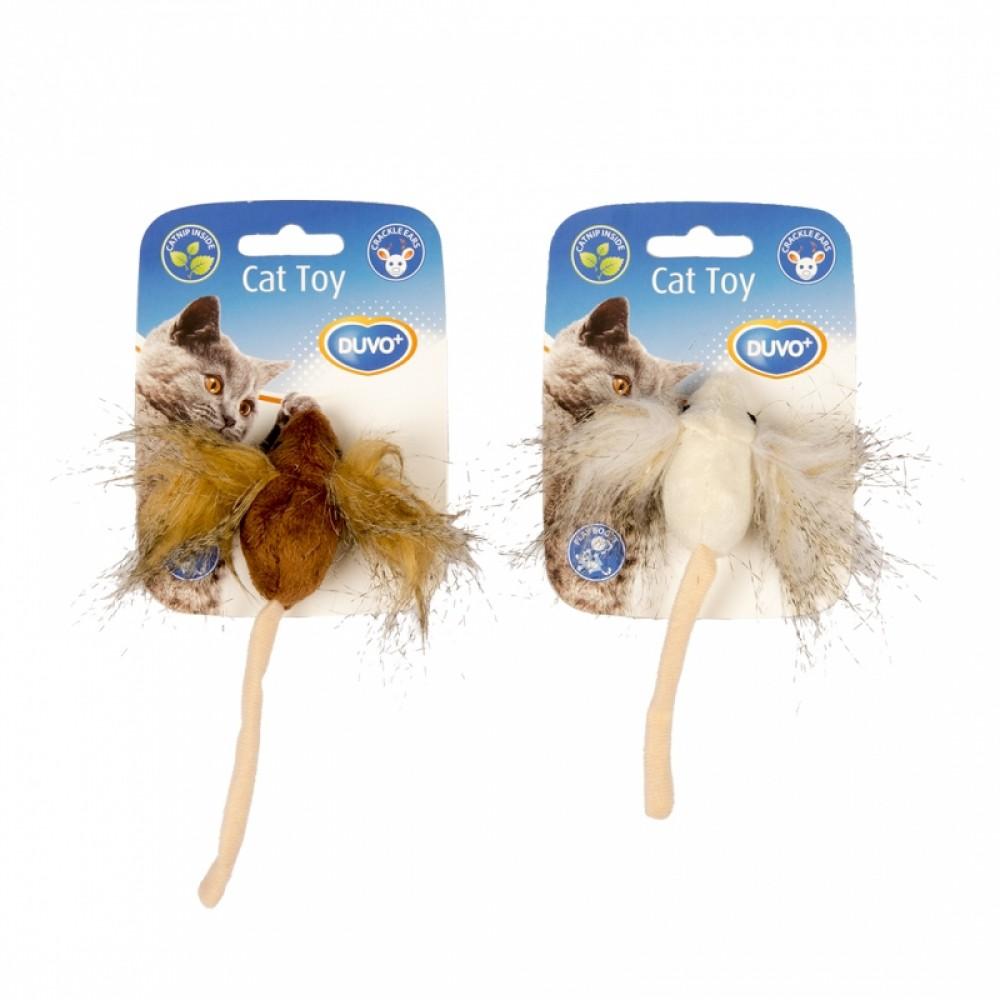 """DUVO+ Игрушка для кошек мягкая с кошачьей мятой """"Мышка с пушистыми ушками"""""""