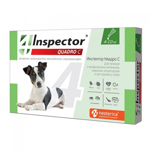 Inspector Инспектор  Квадро  капли для собак от внешних и внутр. паразитов, 1 пипетка