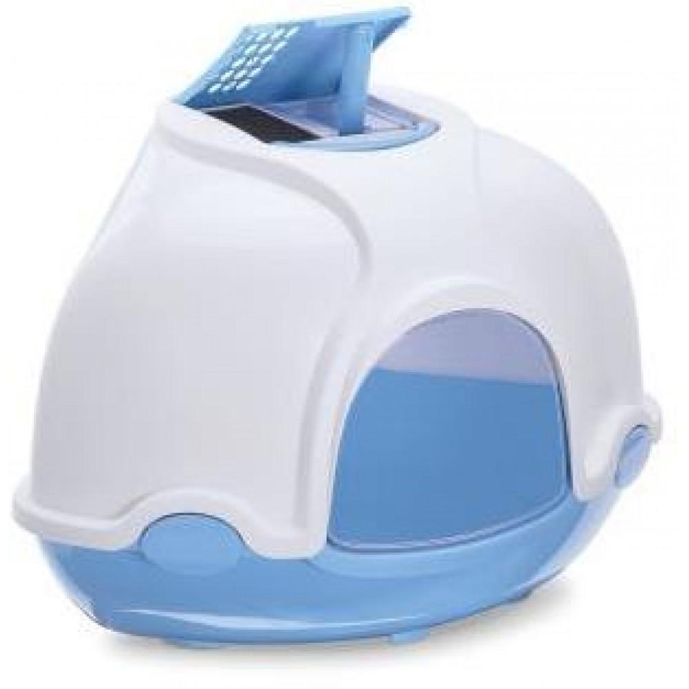 Imac IMAC Био-туалет для кошек угловой GINGER 52Х52Х44,5H см, голубой
