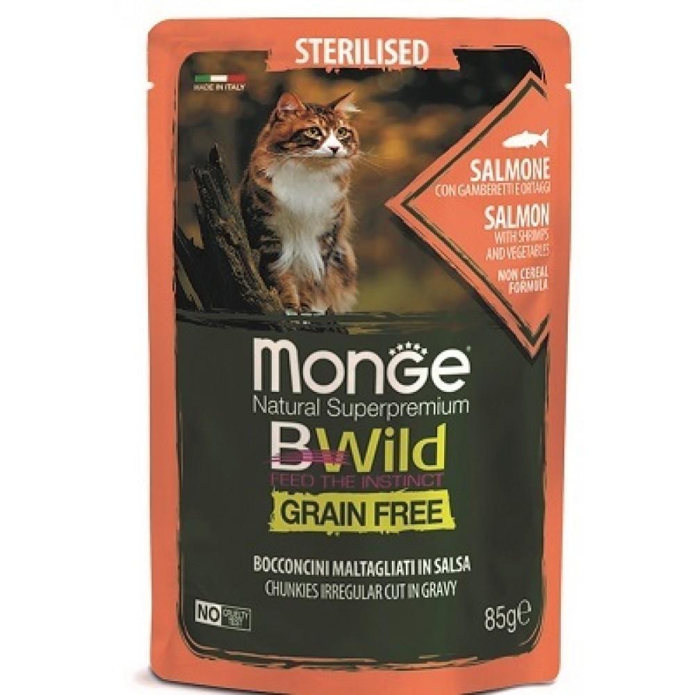 Monge Cat BWild GRAIN FREE паучи из лосося с креветками и овощами для стерилизованных кошек 85г