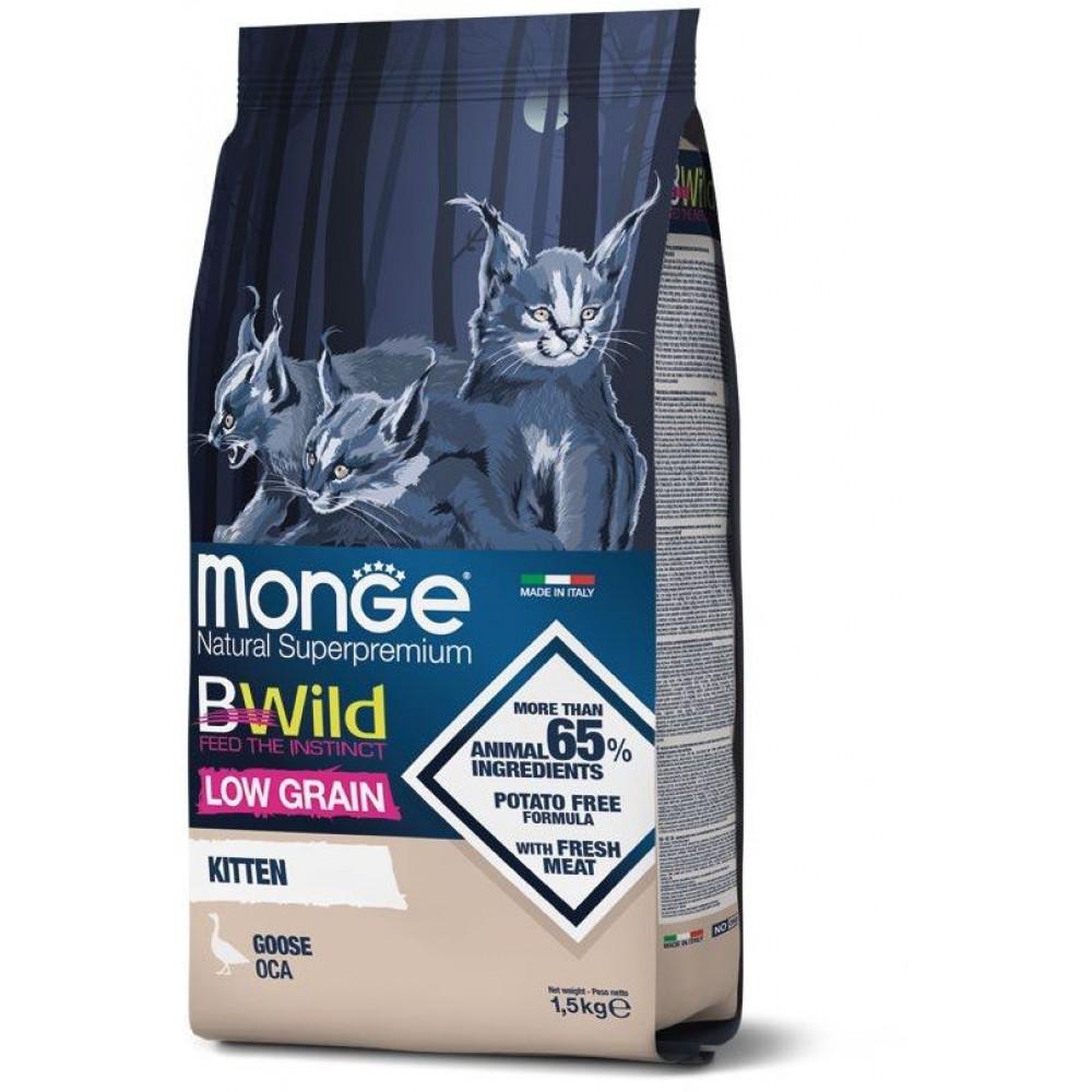 Monge Cat BWild Low Grain Kitten низкозерновой сухой корм из мяса гуся для котят