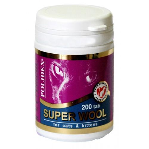 POLIDEX super wool Полидекс супер вул для кошек и котят, 200 таб