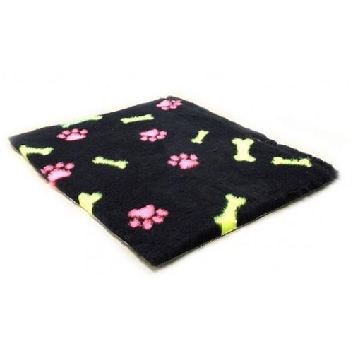 Коврик меховой для кошек и собак Лапки и Косточки черный/розовый/желтый