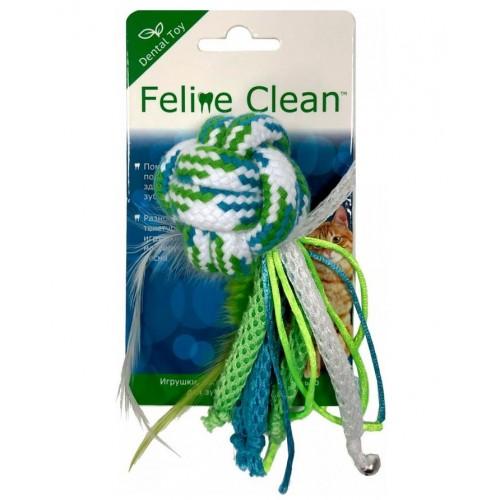 Feline Clean Dental - Игрушка для кошек Мячик из каната, ленты и перья
