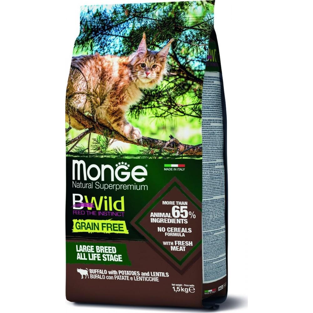 Monge Cat BWild GRAIN FREE - Беззерновой корм из мяса буйвола для крупных кошек всех возрастов