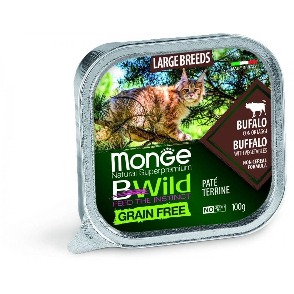 Monge Cat BWild GRAIN FREE - Беззерновые консервы из буйвола с овощами для кошек крупных пород