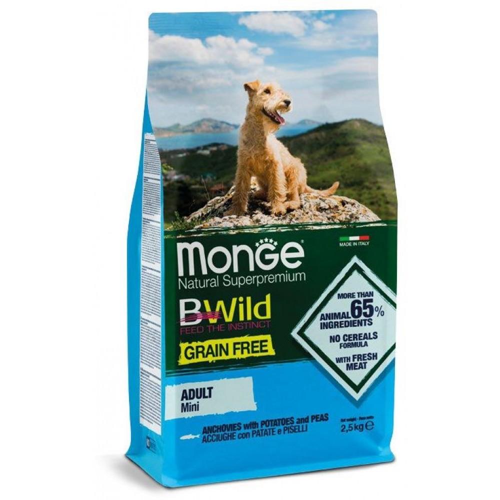 Monge Dog BWild GRAIN FREE Mini - Беззерновой корм из анчоуса с картофелем и горохом для взрослых собак мелких пород