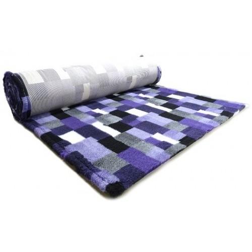 Коврик меховой для кошек и собак В Клетку фиолетовый/угольный