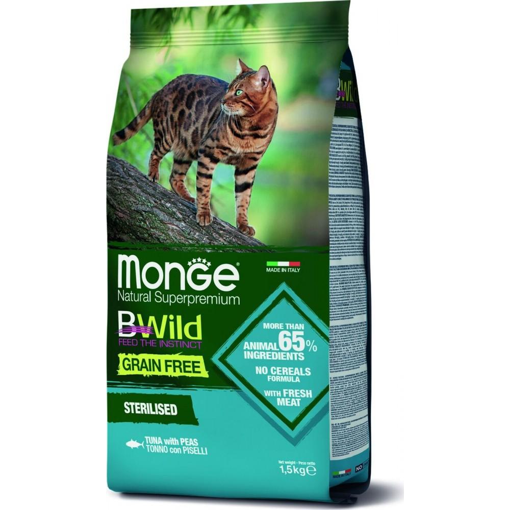 Monge Cat BWild GRAIN FREE - Беззерновой корм из тунца и гороха для стерилизованных кошек