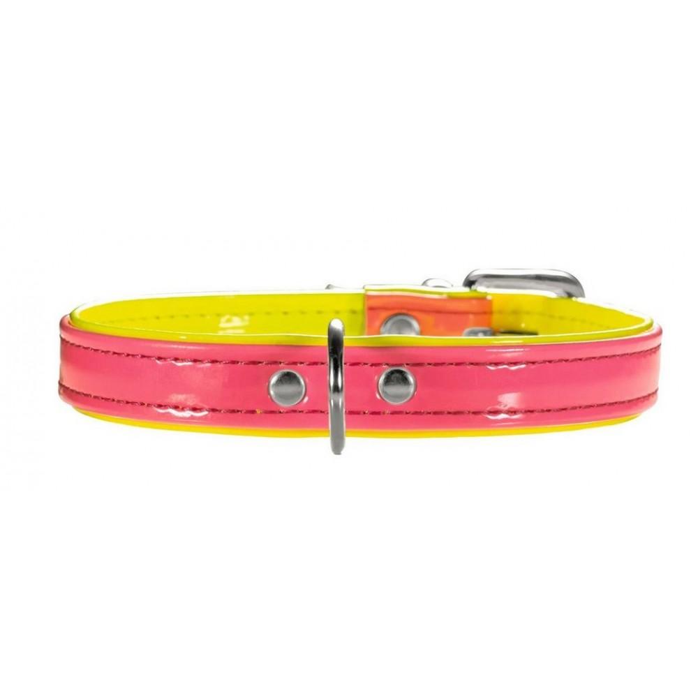 Hunter Hunter ошейник для собак Modern Art Neon 37/13 (28-33,5 см) заменитель кожи розовый/желтый