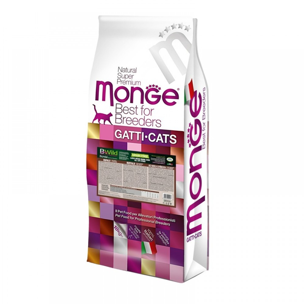 Monge PFB Cat BWild GRAIN FREE - Беззерновой корм из мяса буйвола для крупных кошек всех возрастов
