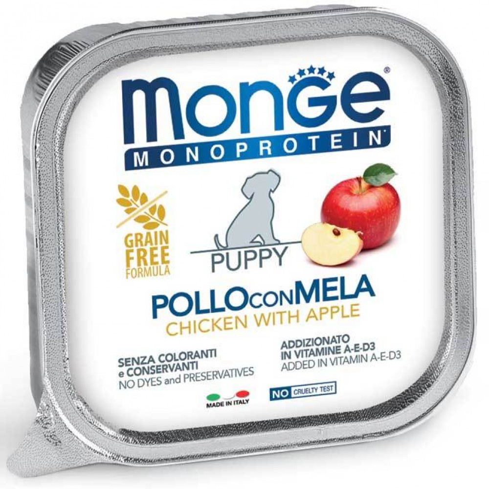 Monge Dog Monoprotein Fruits - Консервы для щенков паштет из курицы с яблоком