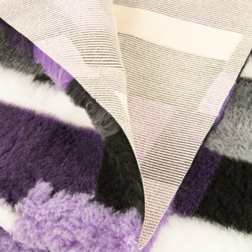 Коврик меховой для кошек и собак В Клетку лиловый/шоколадный