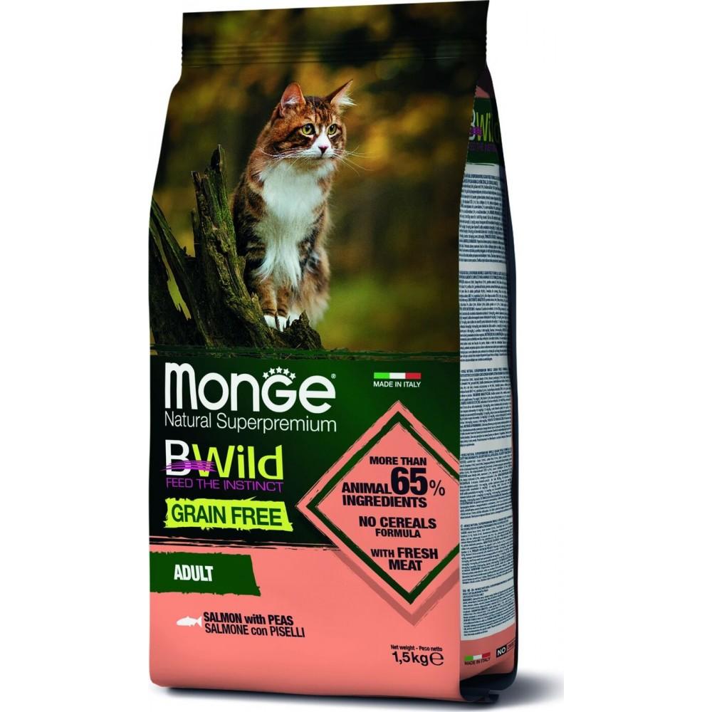 Monge Cat BWild GRAIN FREE - Беззерновой корм из лосося  для взрослых кошек