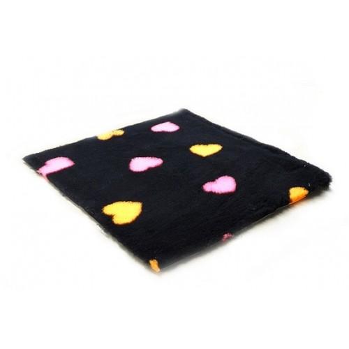 Коврик меховой для кошек и собак Сердце черный/оранжевый/розовый