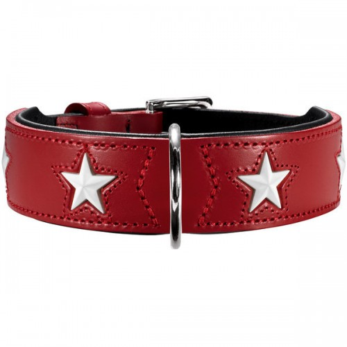 Hunter ошейник для собак Magic Star 55 (41-49 см) кожа красный/черный