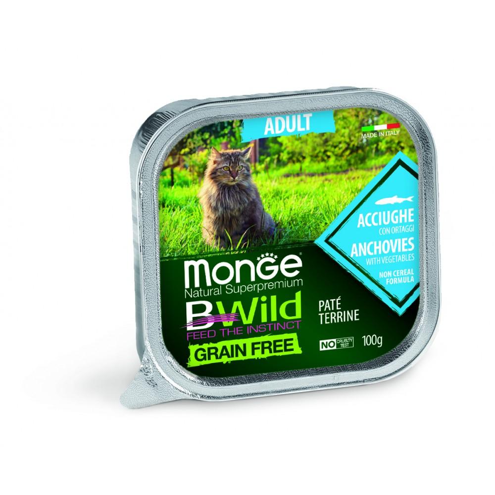 Monge Cat BWild GRAIN FREE - Беззерновые консервы из анчоусов с овощами для взрослых кошек