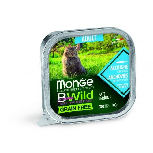Cat BWild GRAIN FREE - Беззерновые консервы из анчоусов с овощами для взрослых кошек