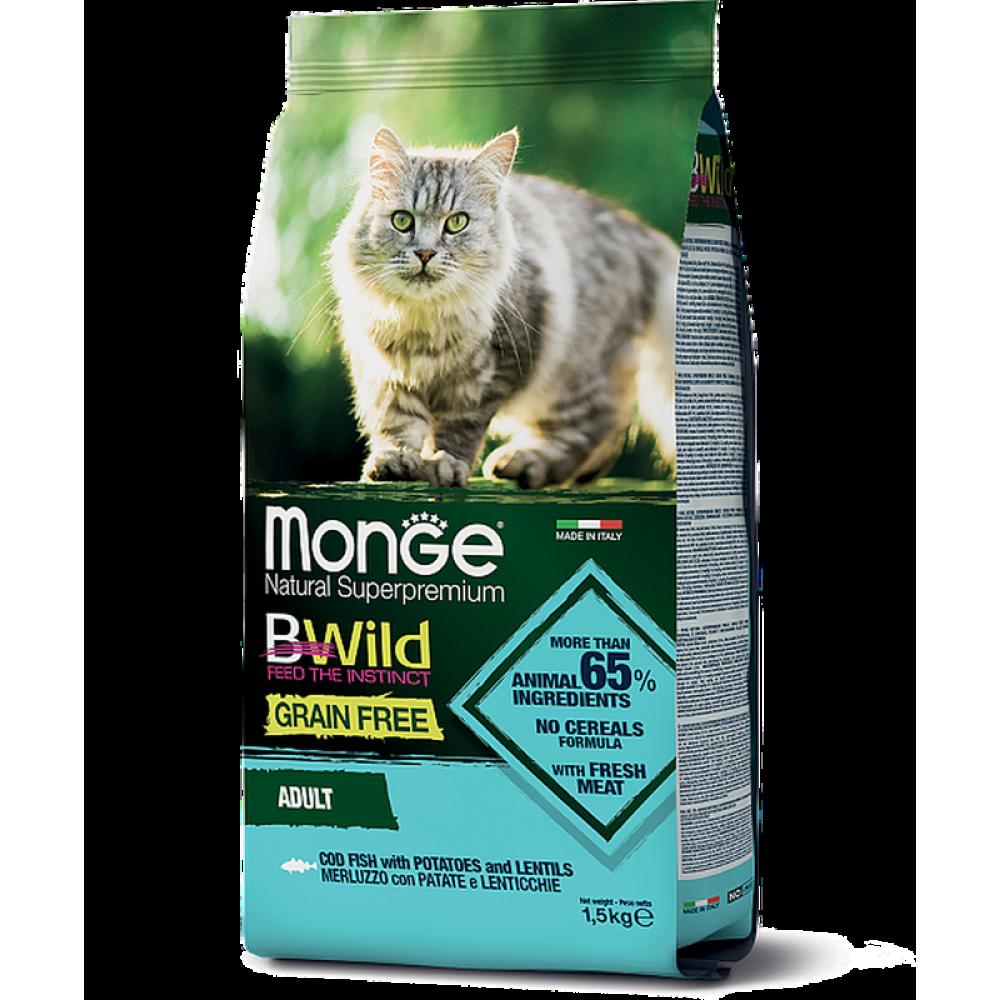 Monge Cat BWild GRAIN FREE - Беззерновой корм из трески, картофеля и чечевицы для взрослых кошек