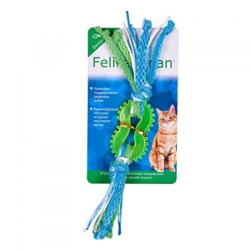 Feline Clean Dental - Игрушка для кошек Колечко прорезыватель с лентами, резина