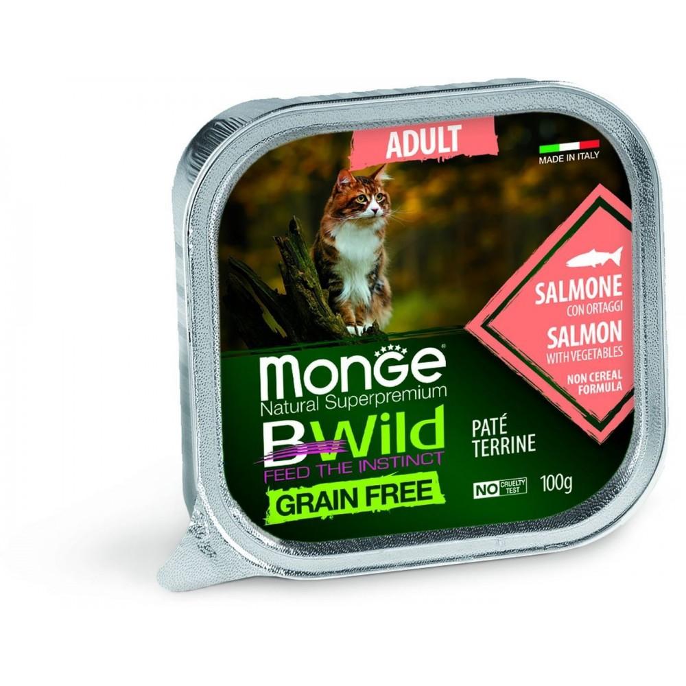 Monge Cat BWild GRAIN FREE - Беззерновые консервы из лосося с овощами для взрослых кошек