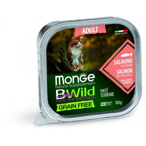 Cat BWild GRAIN FREE - Беззерновые консервы из лосося с овощами для взрослых кошек