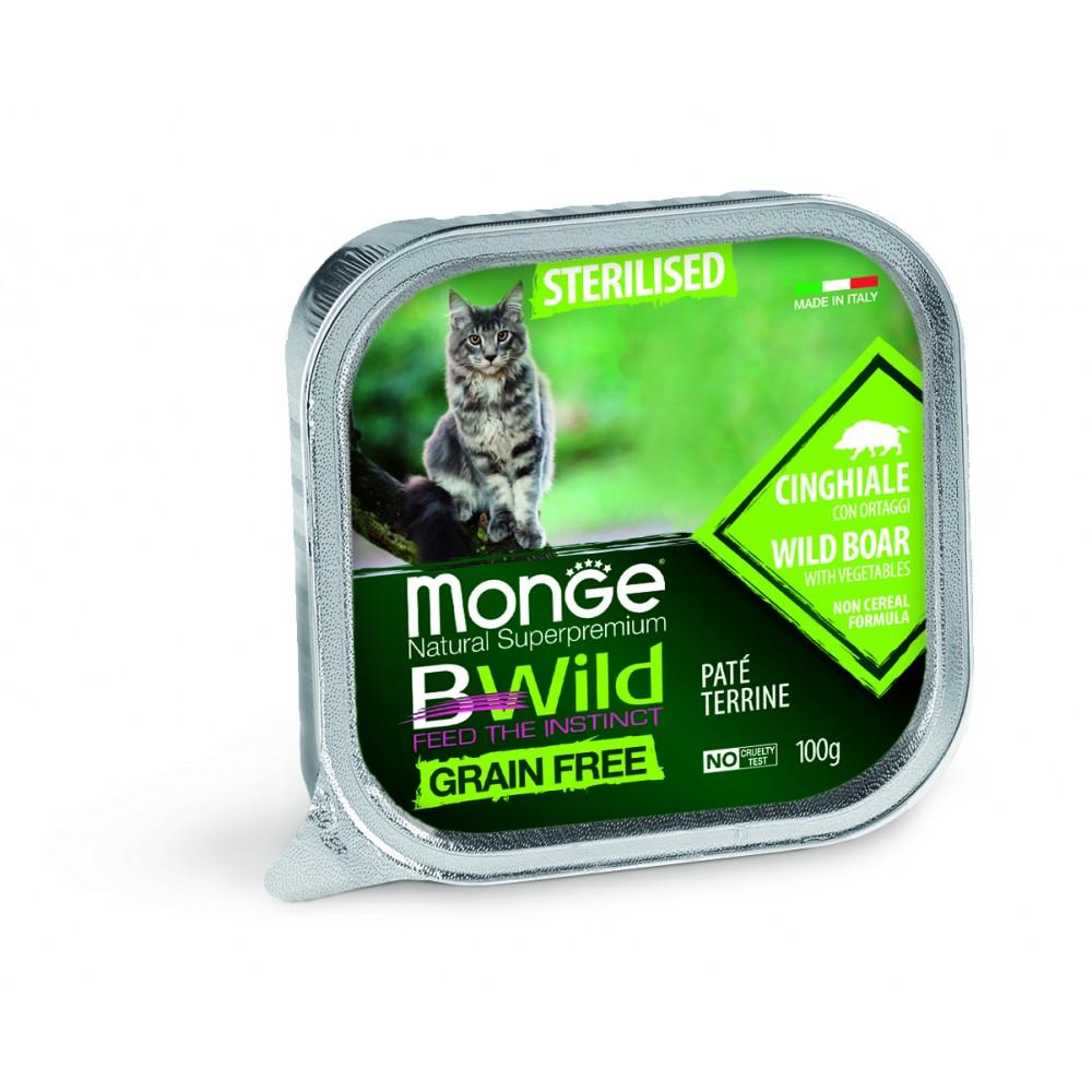 Monge Cat BWild GRAIN FREE - Беззерновые консервы из кабана с овощами для стерилизованных кошек
