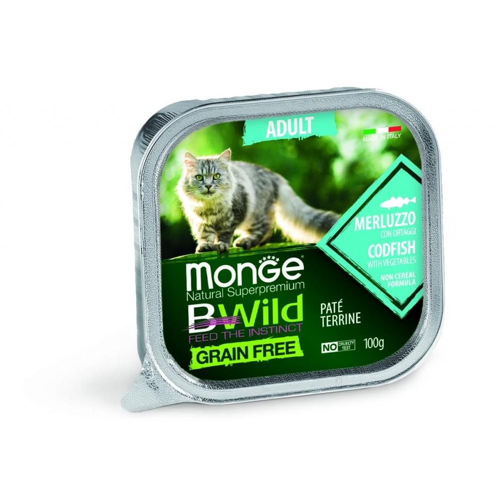 Monge Cat BWild GRAIN FREE - Беззерновые консервы из трески с овощами для взрослых кошек