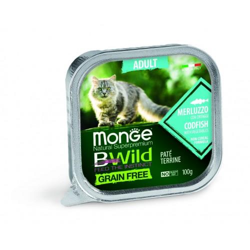 Cat BWild GRAIN FREE - Беззерновые консервы из трески с овощами для взрослых кошек