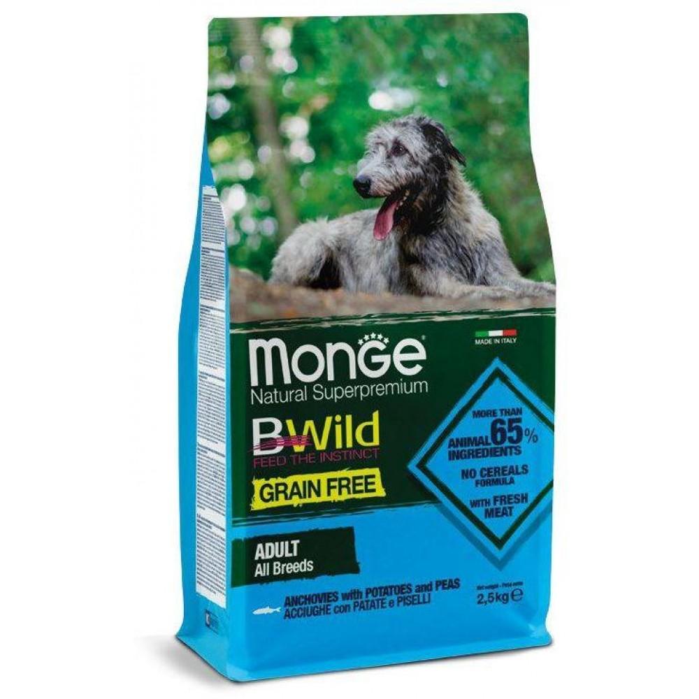 Monge Dog BWild GRAIN FREE - Беззерновой корм из анчоуса c картофелем и горохом для собак всех пород