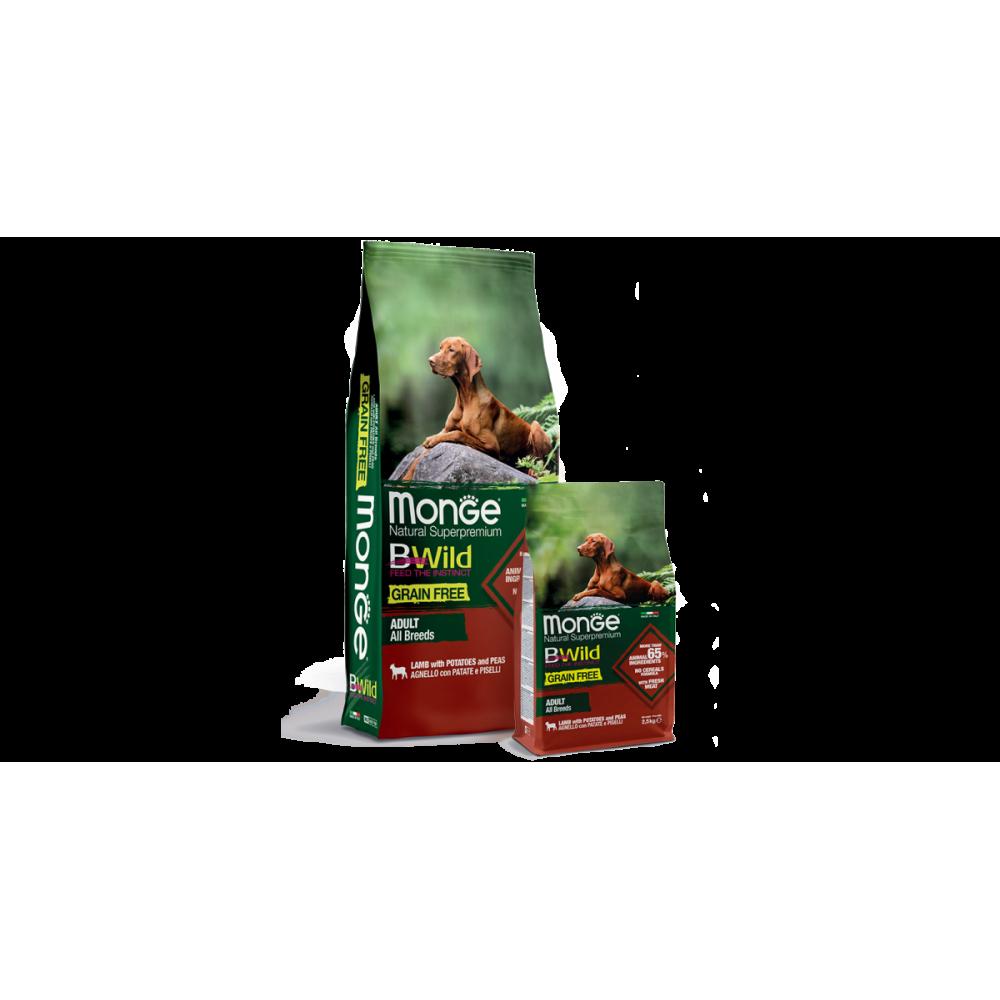 Monge Dog BWild GRAIN FREE - Беззерновой корм из мяса ягненка с картофелем и горохом для взрослых собак всех пород