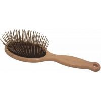 Pin brush - Массажная щетка овальная большая для густой шерсти (черн.)