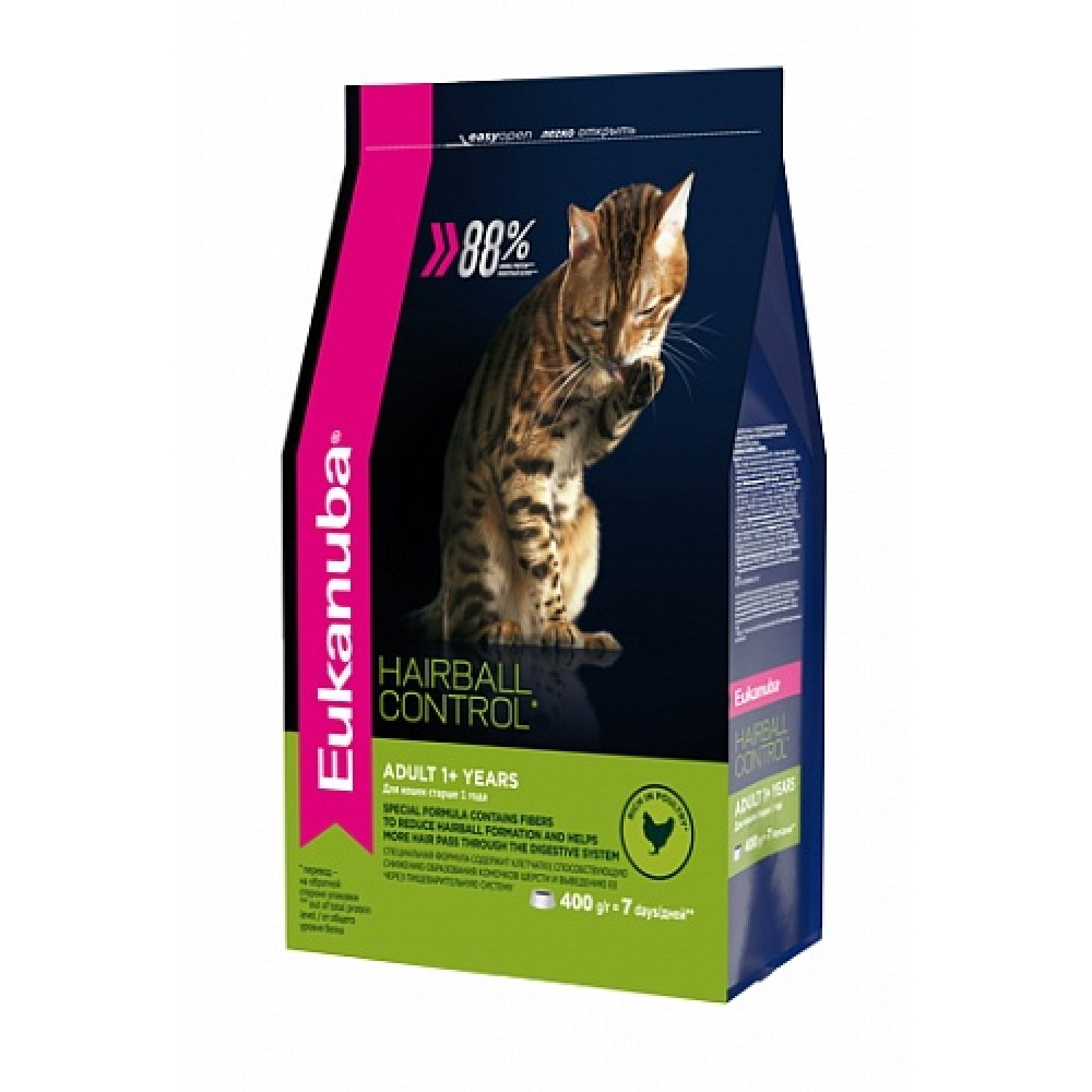 Eukanuba Cat HAIRBALL - Корм для вывода шерсти из желудка с домашней птицей для кошек