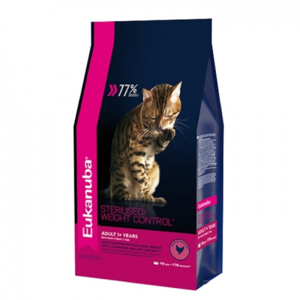 Eukanuba Cat - Корм для взрослых кошек с избыточным весом и стерилизованных