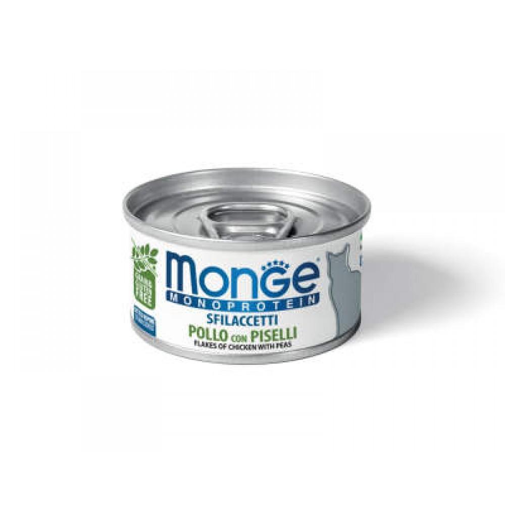 Monge Cat Monoprotein - Мясные хлопья для кошек из курицы с горошком