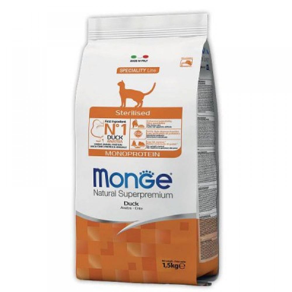 Monge Cat Monoprotein Sterilised Duck - Корм для стерилизованных кошек с уткой