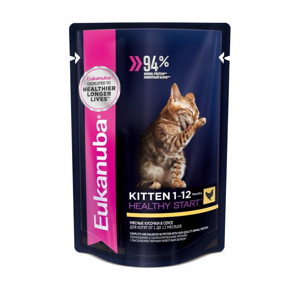 Eukanuba Cat паучи корм для котят с курицей в соусе