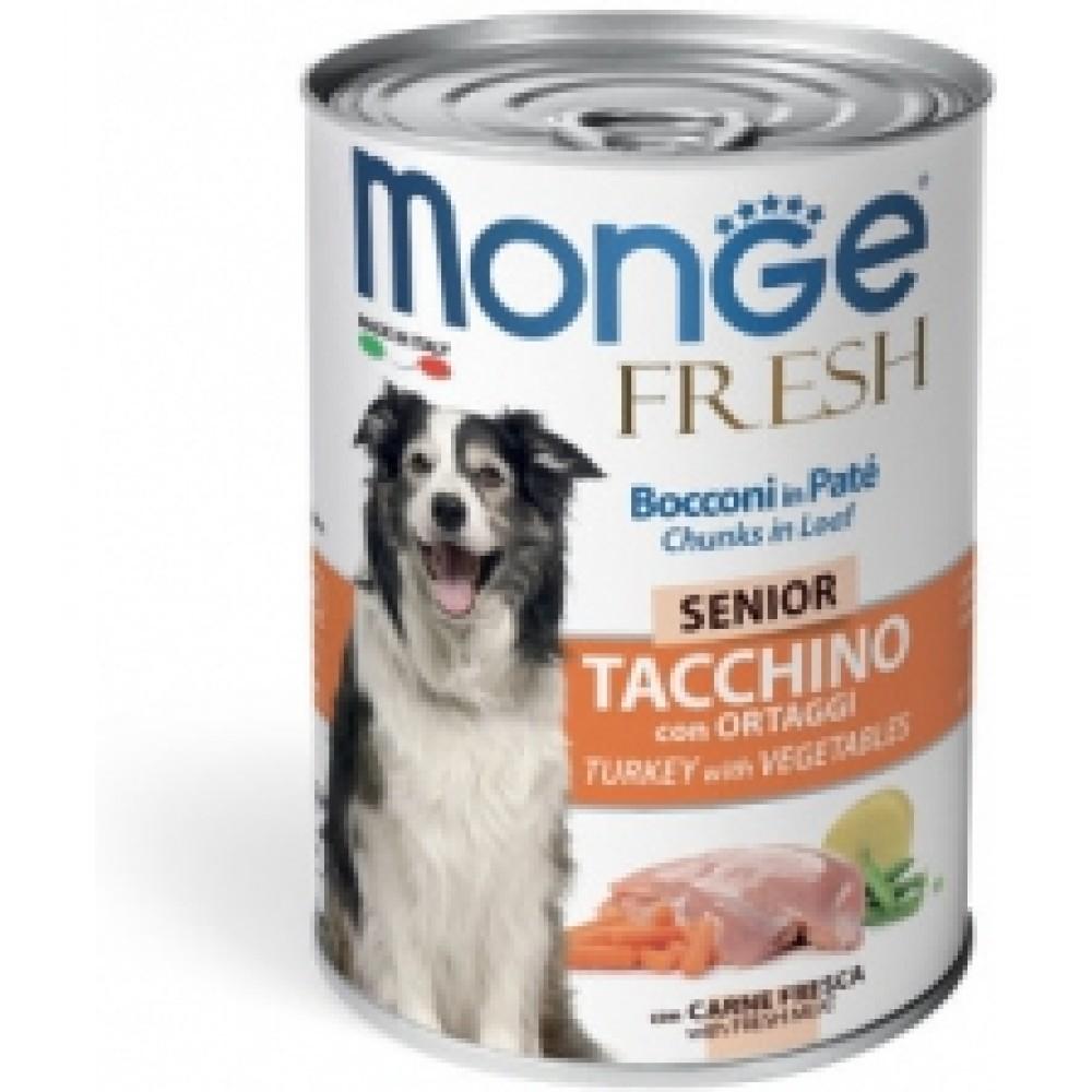 Monge Dog Fresh Chunks in Loaf - Консервы для пожилых собак с мясным рулетом из индейки с овощами