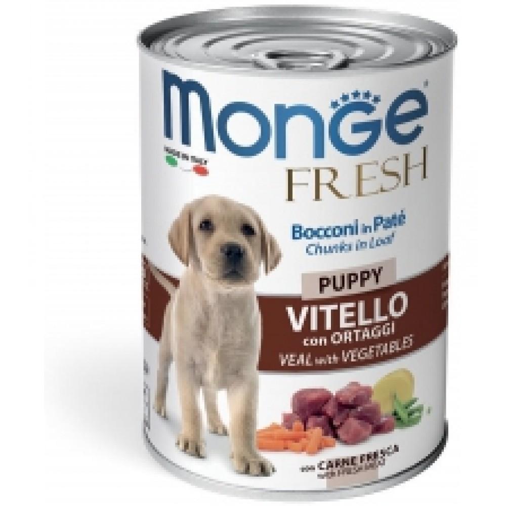 Monge Dog Fresh Chunks in Loaf - Консервы для щенков с мясным рулетом из телятины с овощами