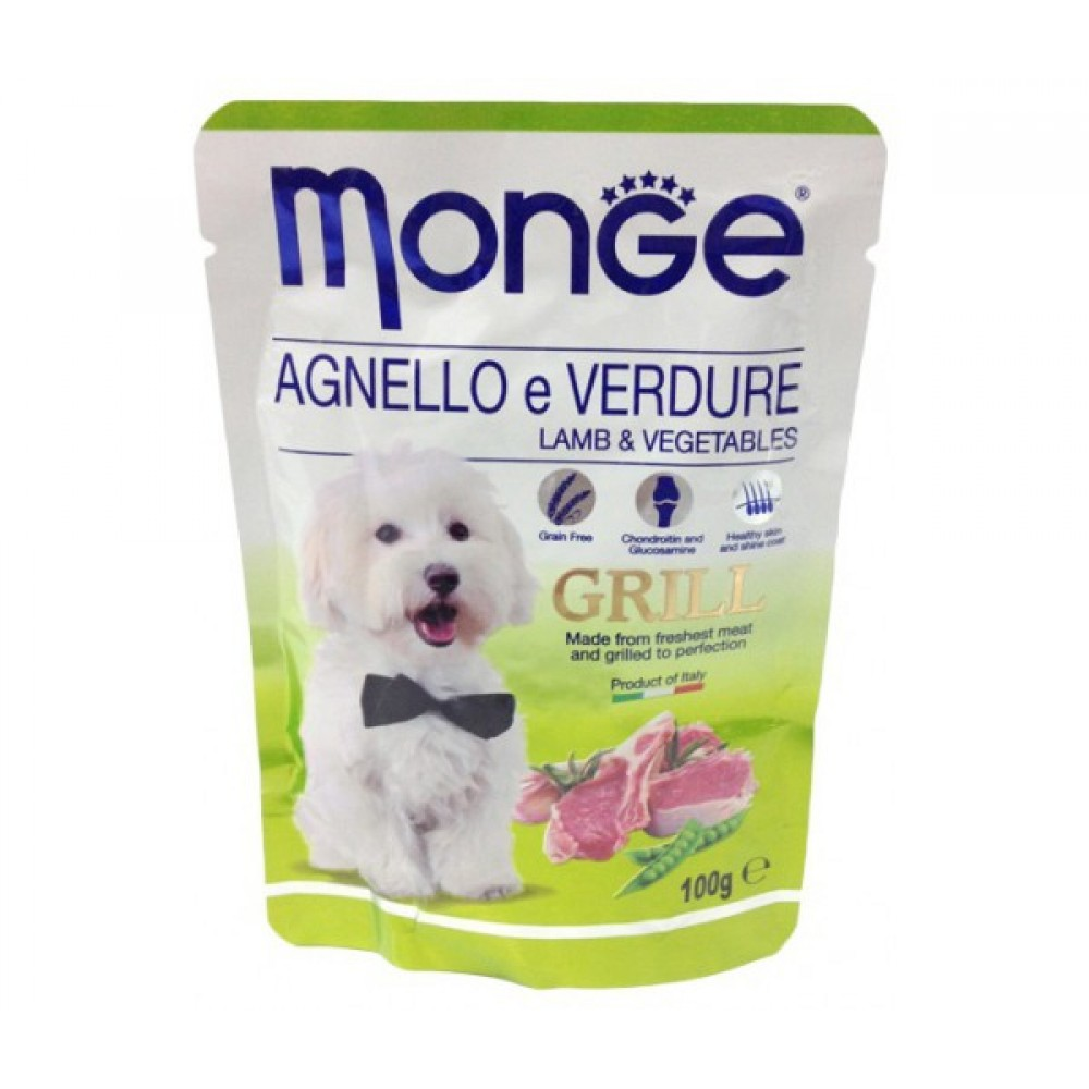 Monge Dog Grill Pouch - Паучи для собак с ягненком и овощами