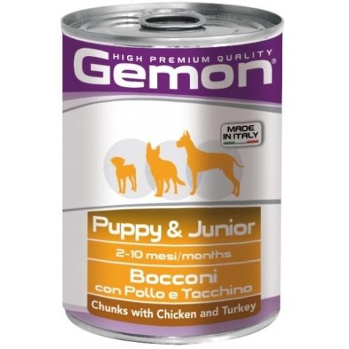 Gemon Dog - Консервы для щенков с кусочками курицы и индейкой