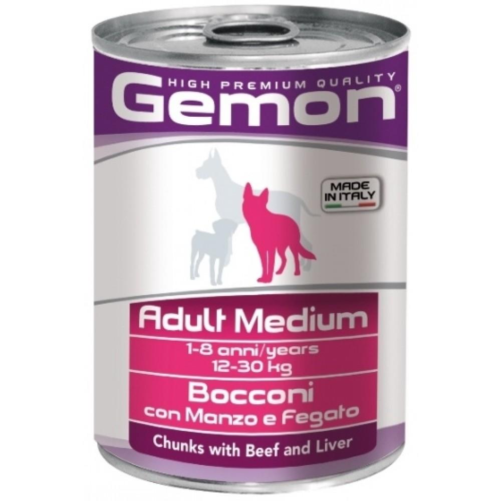 Monge Gemon Dog Medium - Консервы для собак средних пород с кусочками говядины и печенью