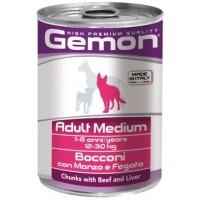 Gemon Dog Medium - Консервы для собак средних пород с кусочками говядины и печенью