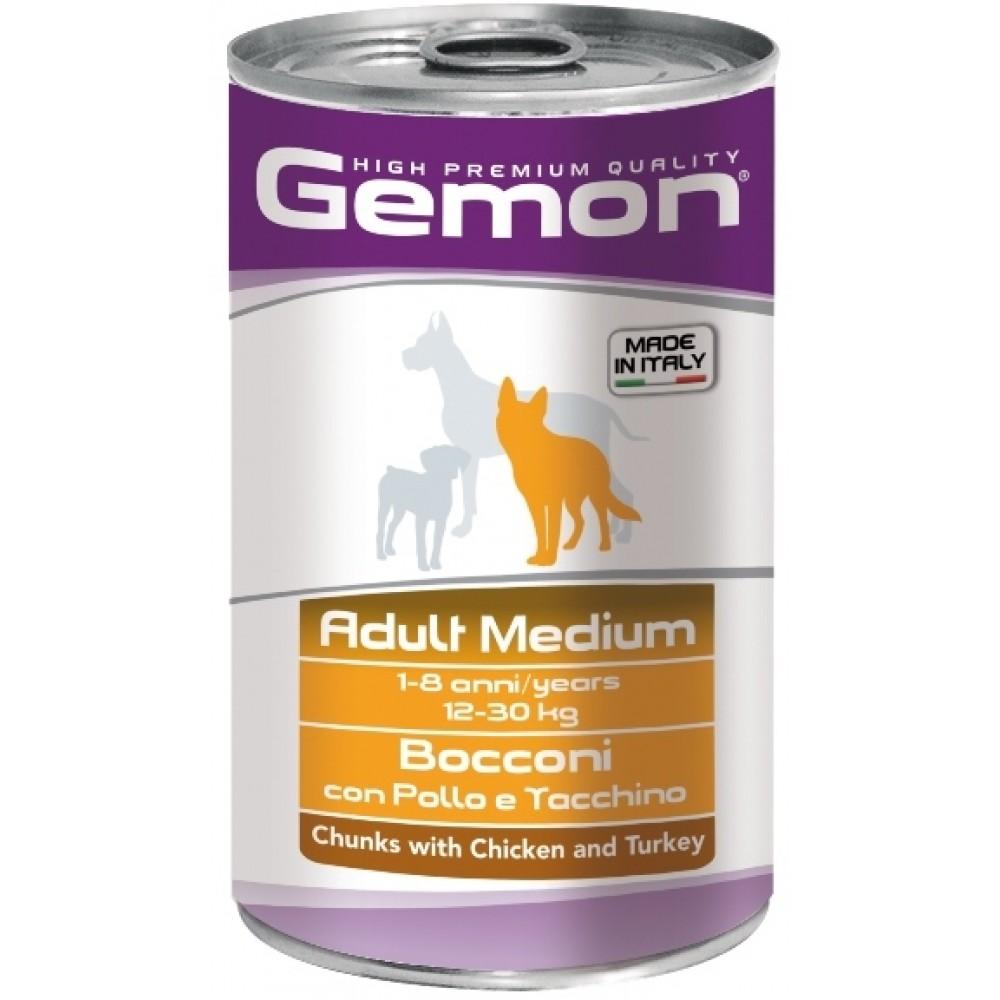 Monge Gemon Dog Medium - Консервы для собак средних пород с кусочками курицы и индейкой