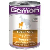 Gemon Dog Mini - Консервы для собак мелких пород с кусочками курицы и рисом