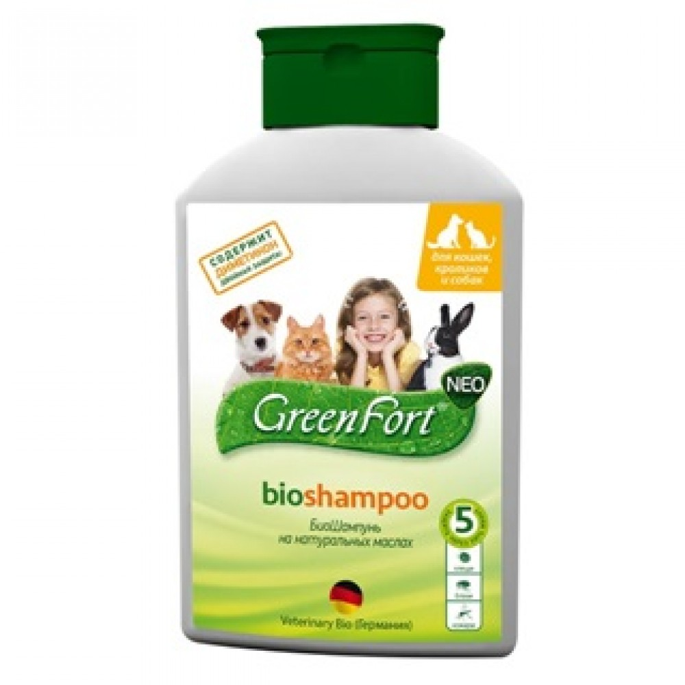 Экопром Green Fort Neo Bio Shampoo Грин Форт БиоШампунь от блох и других эктопаразитов для собак, кошек и кроликов, 380мл