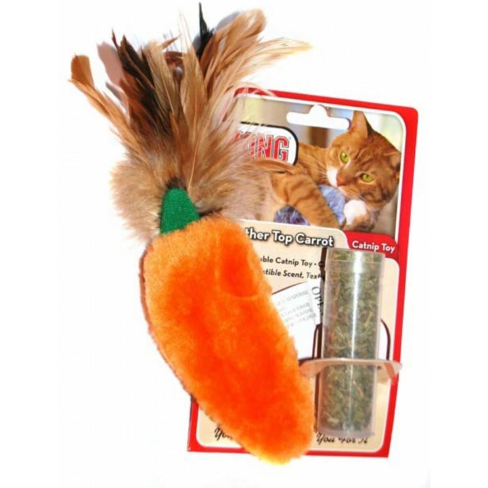 """KONG Игрушка для кошек """"Морковь"""" плюш с тубом кошачьей мяты"""