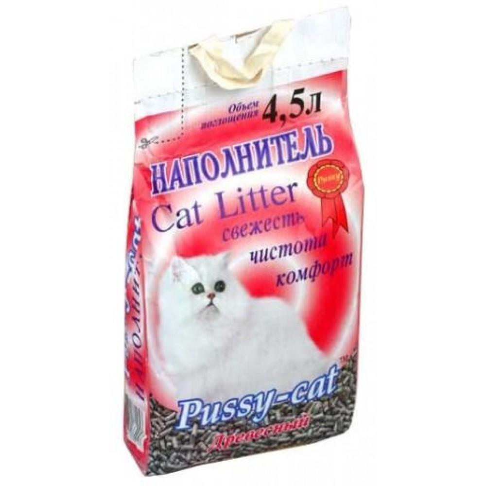 """Pussy-cat Наполнитель Древесный """"Пуси Кэт"""" для кошачьих туалетов (4,5 л. / 2,6 кг.)"""