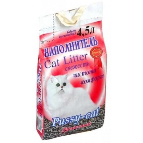 """Наполнитель Древесный """"Пуси Кэт"""" для кошачьих туалетов (4,5 л. / 2,6 кг.)"""