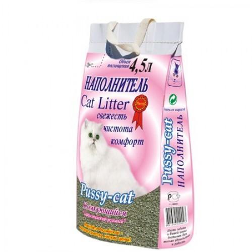 """Наполнитель Комкующийся """"Пуси Кэт"""" для кошачьих туалетов (4,5 л. / 2,6 кг.)"""